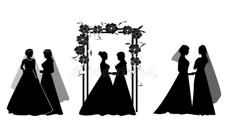 Ställ in av härliga lesbiska par i vita bröllopsklänningar, och blommor smyckar Samma-k?nsbest?mma familjen Homo?ktenskap F?r att royaltyfri illustrationer