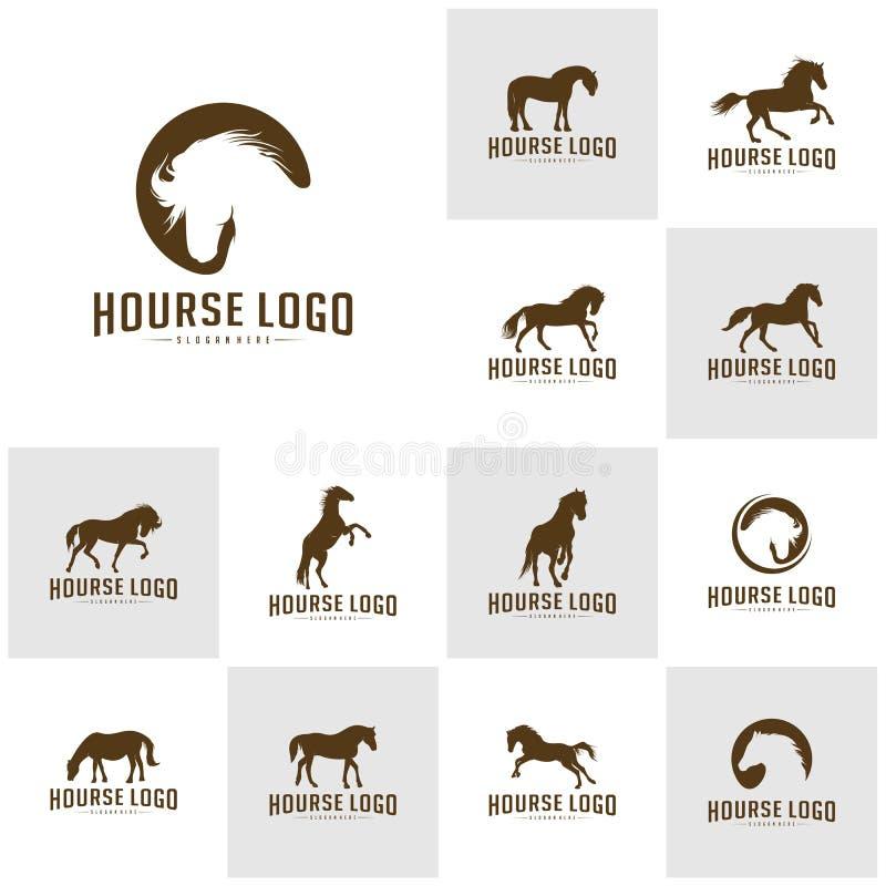 Ställ in av hästen Logo Design Icon Symbol H?stvektor H?stkontur royaltyfri illustrationer