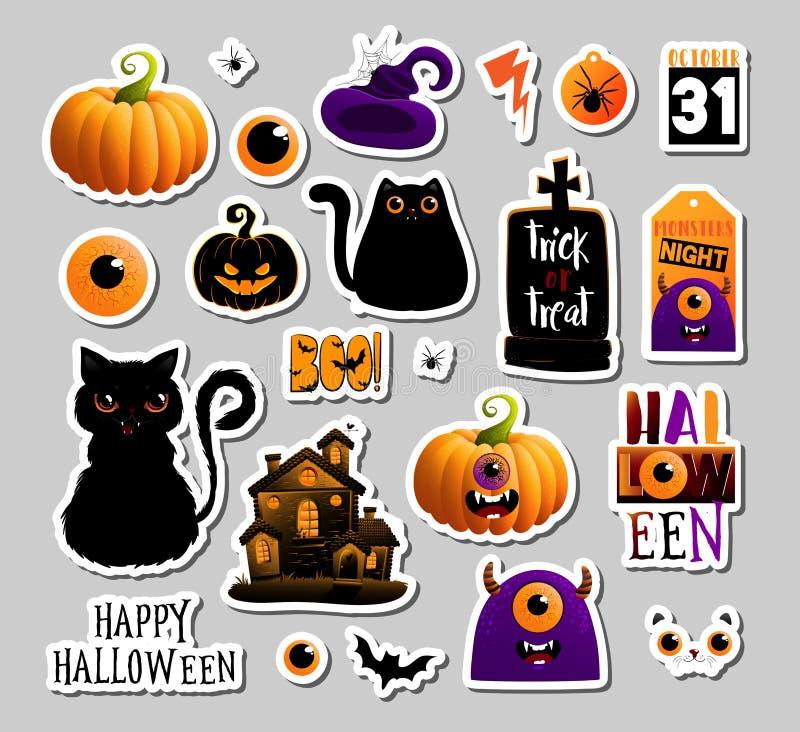 Ställ in av halloweeen klistermärkear, emblem som scrapbooking beståndsdelar Lycklig Halloween set Allhelgonaaftonparti, vektor E royaltyfri illustrationer