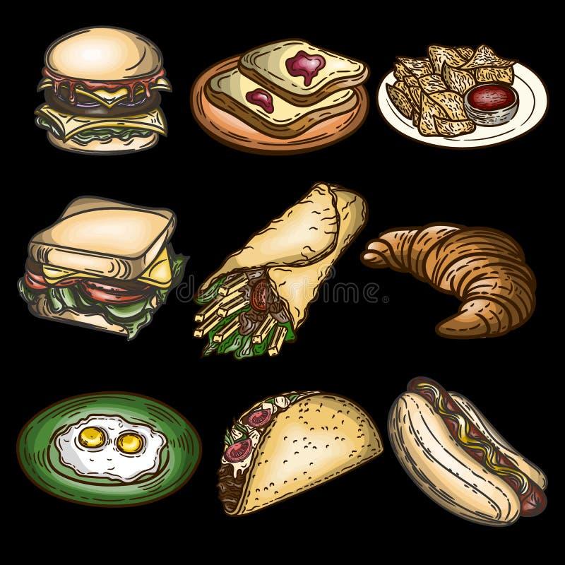 Ställ in av hamburgaren, hamburgaren, rostade bröd, chiper, pitabrödet, gifflet, ägg, taco och hotdogen som isoleras på svart stock illustrationer