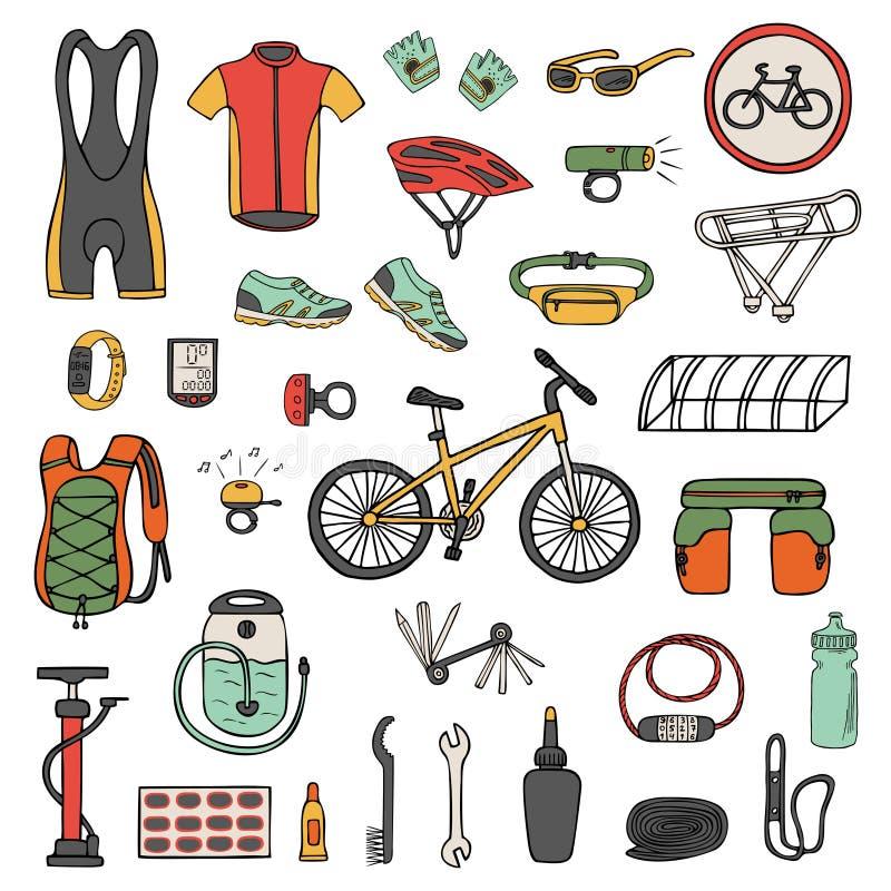Ställ in av hand-dragen cykelutrustning och kläder royaltyfri illustrationer