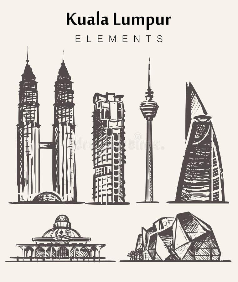 Ställ in av hand-drog Kuala Lampur byggnader Kuala Lampur beståndsdelar skissar vektorillustrationen vektor illustrationer