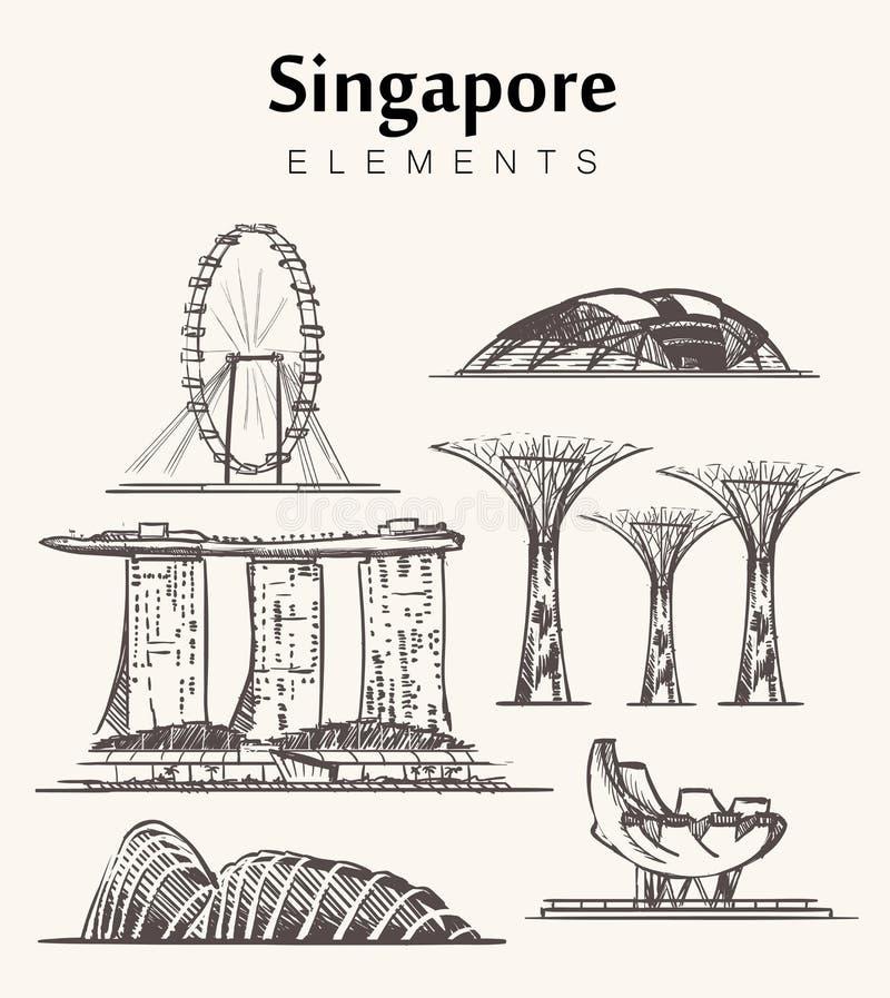 Ställ in av hand-drog Singapore byggnader skissar vektorillustrationen stock illustrationer