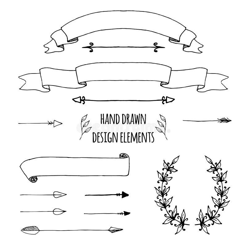 Ställ in av handdrawn band, pilar, lagerkransen, sidadeviders Utdraget skissat för hand, vektorillustration för kula vektor illustrationer