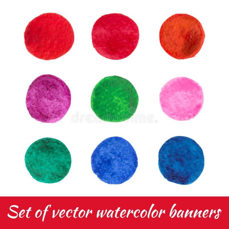 Ställ in av handen målade ljusa cirklar av olika färger som isoleras på den vita bakgrunden stock illustrationer