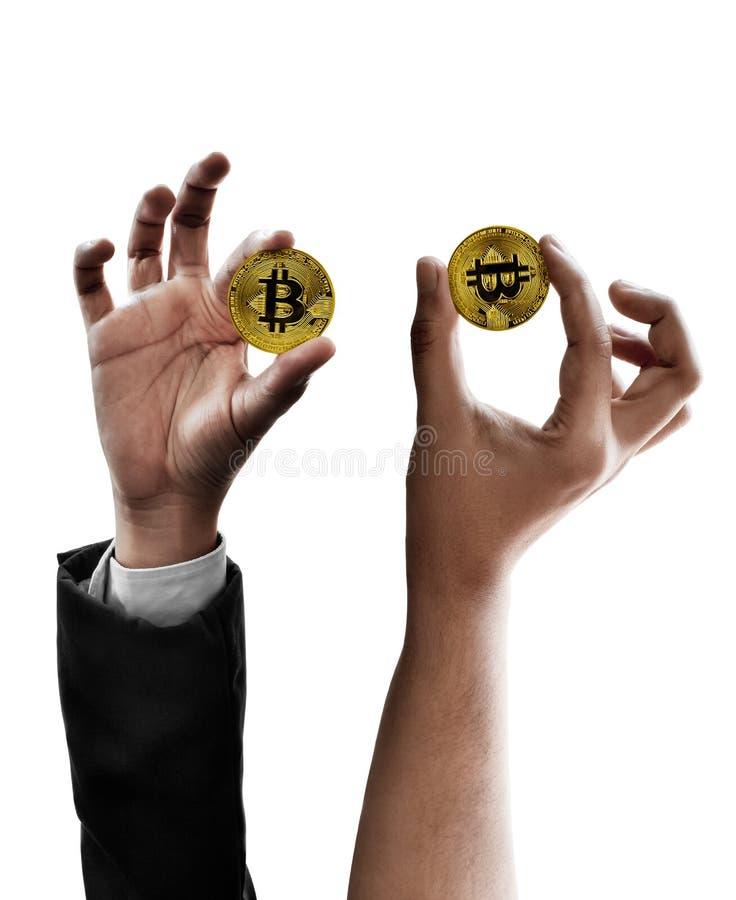 Ställ in av handen som rymmer guld- bitcoin isolerad på vit bakgrund royaltyfria bilder