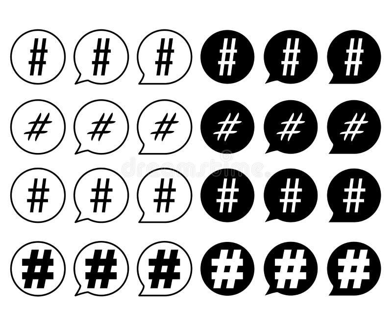 Ställ in av hashtagtecken svartvitt stock illustrationer