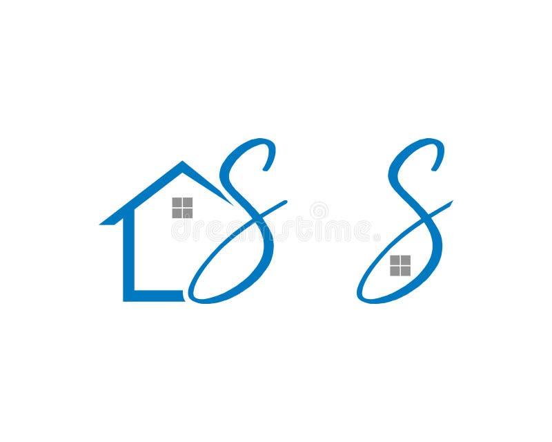 Ställ in av hem- initial bokstav S Logo Design vektor illustrationer