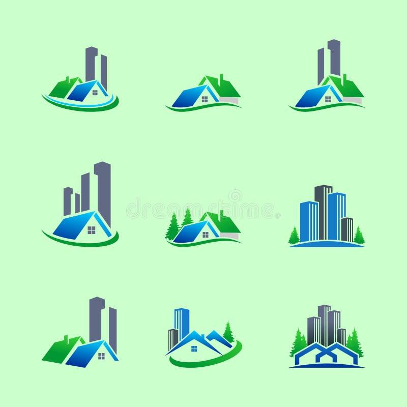 Ställ in av hem- och byggande Logo Design vektor illustrationer