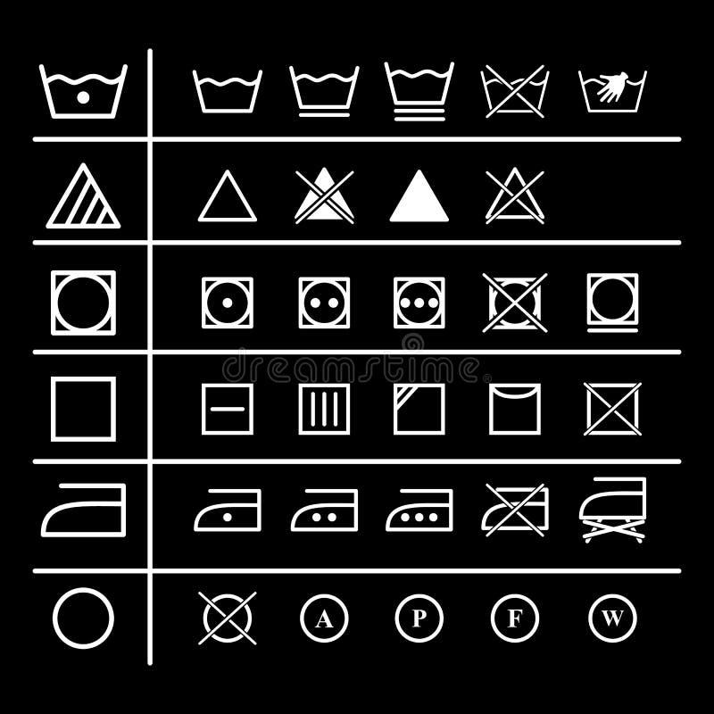 Ställ in av hem- packning för tvätterianvisningssymboler vektor illustrationer