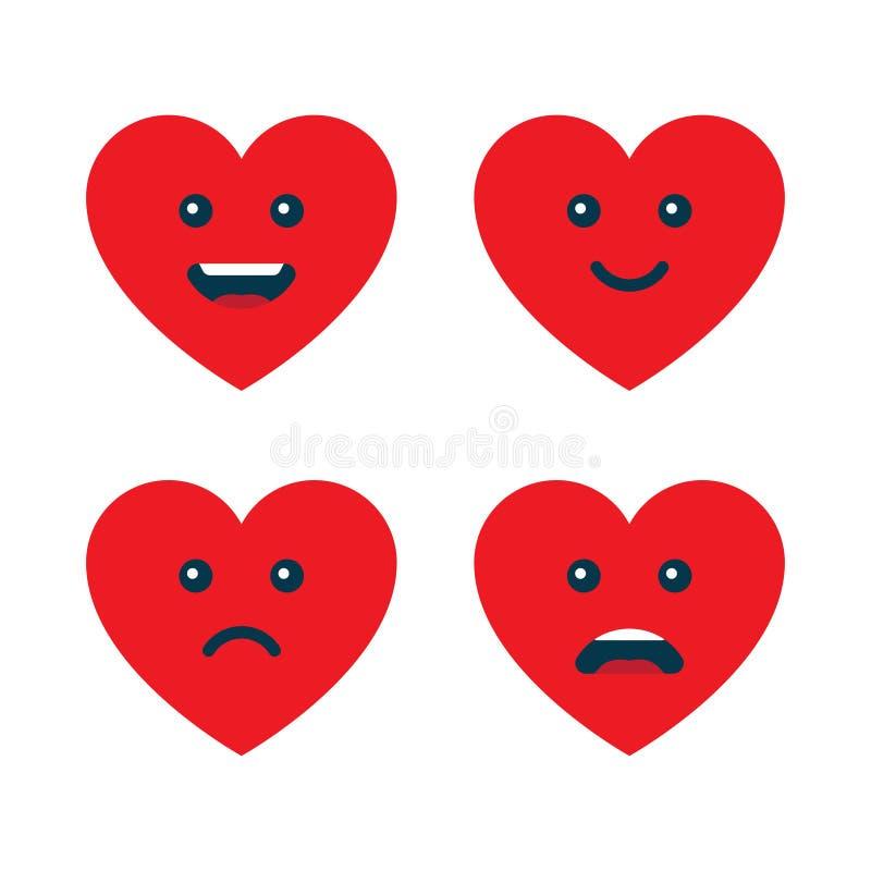 Ställ in av hjärtaemoticons, förälskelseemojis stock illustrationer