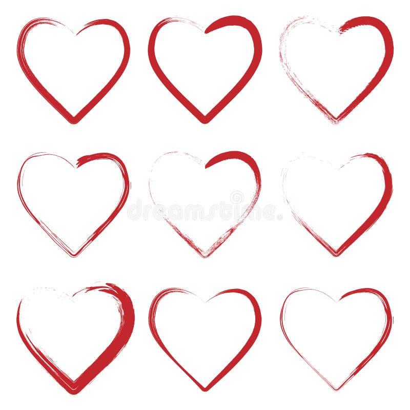 Ställ in av hjärtor som göras med grungeborsten royaltyfri illustrationer