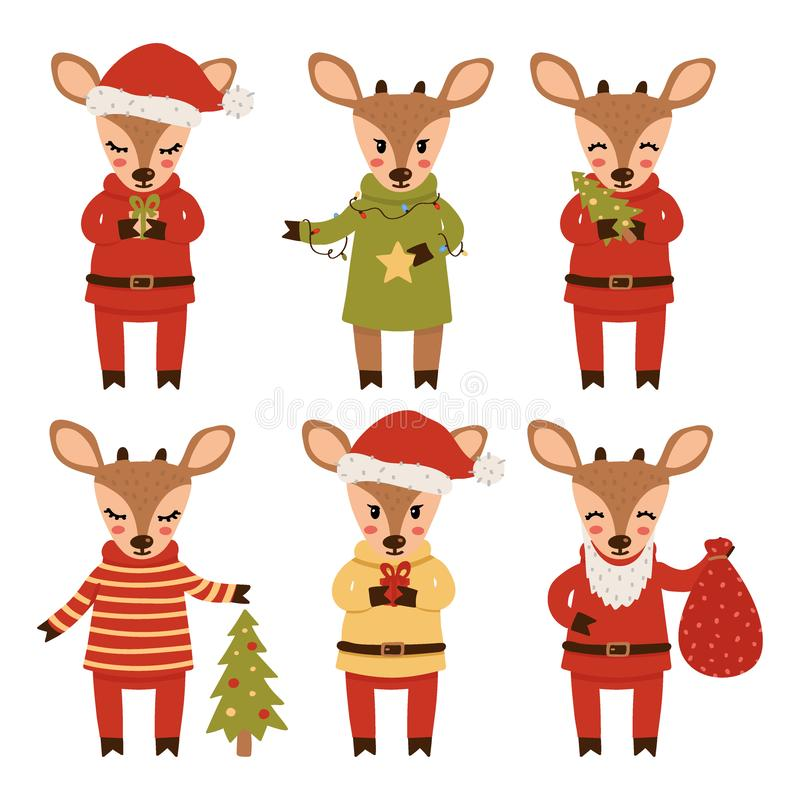 Ställ in av hjortar för det nya året som isoleras på vit bakgrund illustration f?r diagram f?r tecknad filmteckenbarn f?rgrik ock stock illustrationer