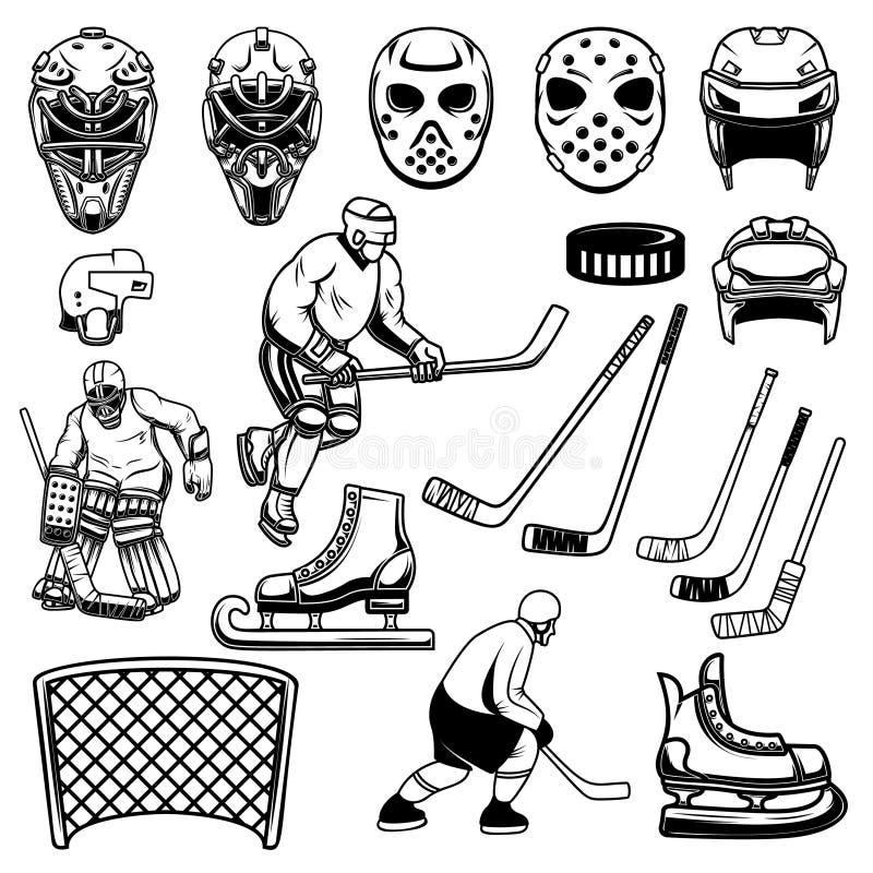 Ställ in av hockeydesignbeståndsdelar Spelare målvakt, hockeypinnar, isskridskor För logo etikett, emblem, tecken royaltyfri illustrationer