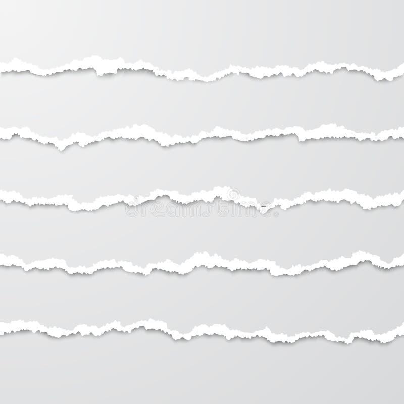 Ställ in av horisontalsömlösa sönderrivna pappers- band med skugga Pappers- textur med den skadade kanten Pappers- gränser för re royaltyfri illustrationer