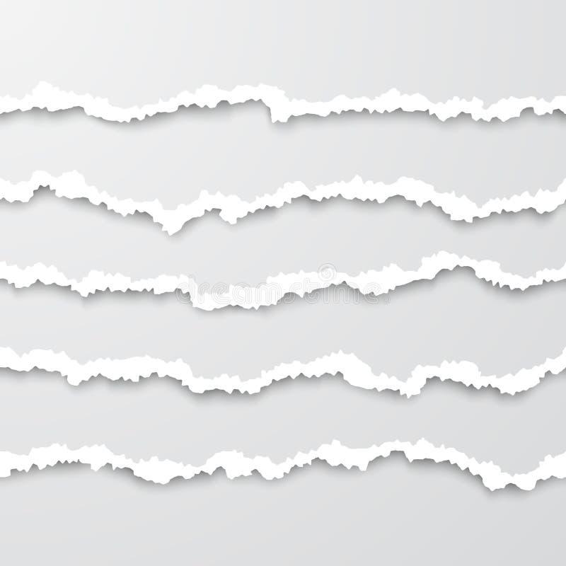 Ställ in av horisontalsömlösa sönderrivna vitboktester med mjuk skugga Skadade pappgränser ocks? vektor f?r coreldrawillustration stock illustrationer