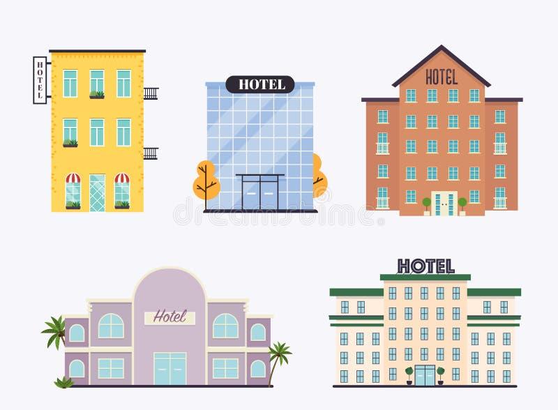 Ställ in av hotellfasad Ideal f?r publikationer f?r marknadsaff?rsreng?ringsduk och grafisk design Plan stilvektorillustration vektor illustrationer