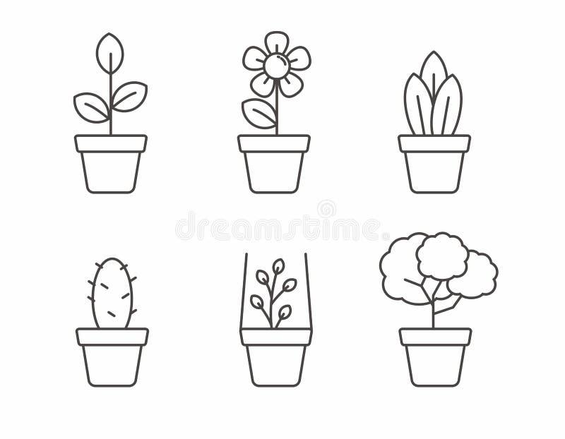 Ställ in av houseplantsymbol med den enkla linjen design stock illustrationer