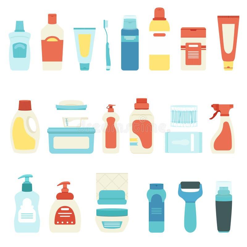 Ställ in av hushållkemikalieer och skönhetsmedel, vektorillustrationen, flaskor, sprejaren, tandborsten och rör stock illustrationer