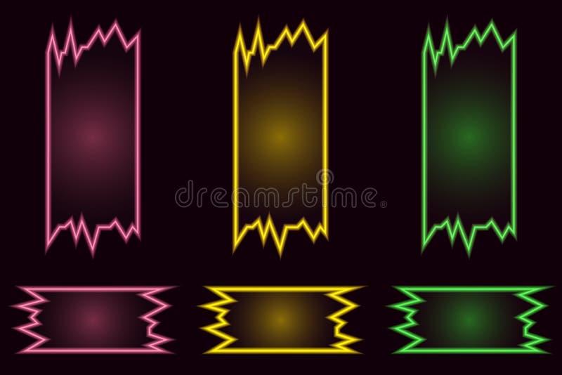Ställ in av idérika geometriska ljusa neonvektorbaner på svart bakgrund stock illustrationer