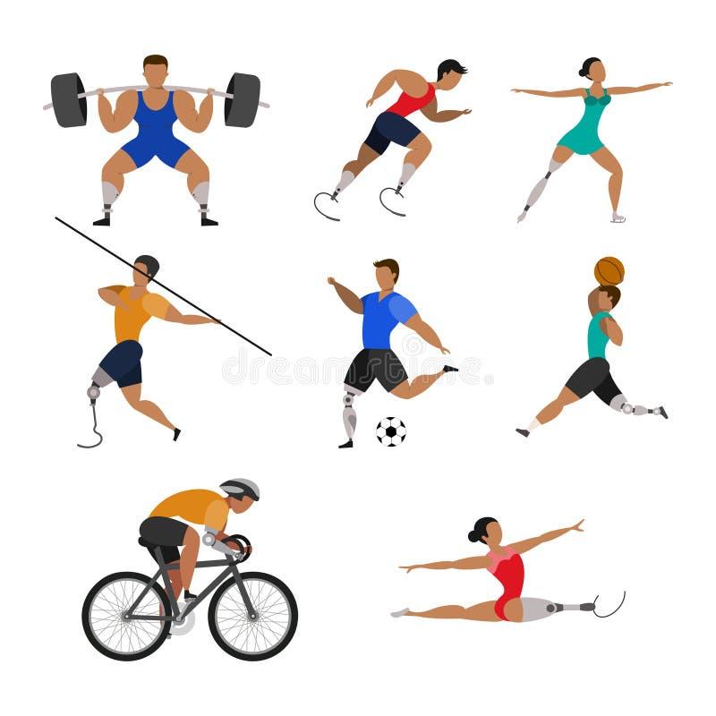 Ställ in av idrottsman nen med bio prosthetic lemmar vektor illustrationer