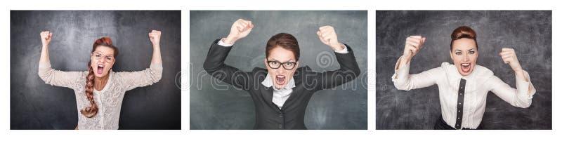 Ställ in av ilsken skrikig kvinna på svart tavla arkivfoto