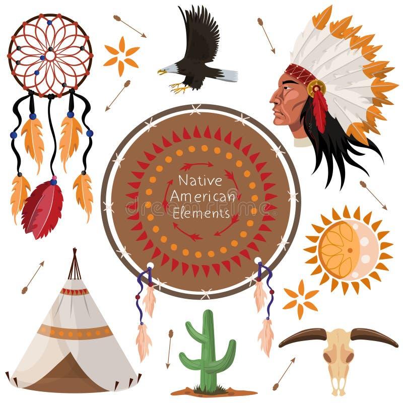 Ställ in av indianbeståndsdelbild royaltyfri illustrationer