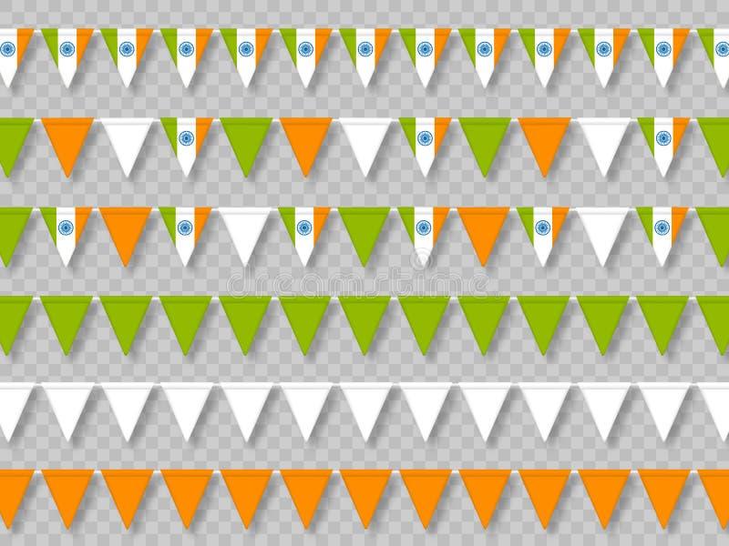 Ställ in av indiska bunting flaggor, traditionellt tricolor stock illustrationer