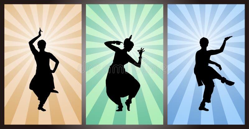 Ställ in av indiska dansare, kontur royaltyfri illustrationer