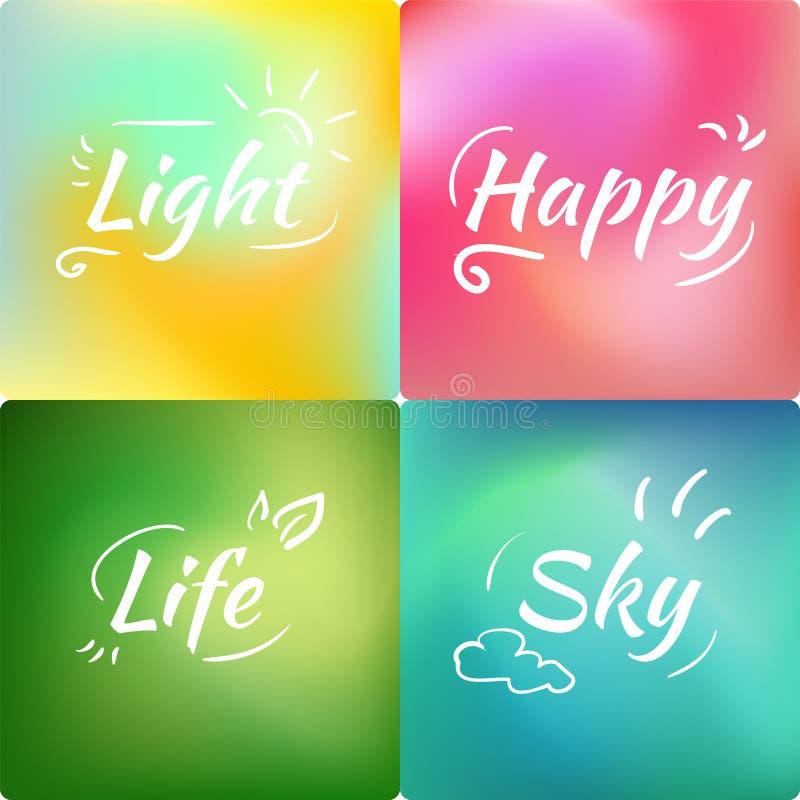 Ställ in av ingreppslutninggräsplan, rosa som är blå, bakgrund - liv, himmel royaltyfri illustrationer