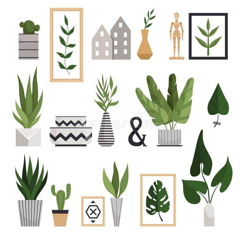 Ställ in av inomhus växter i stilfulla geometriska vaser och monsteraen, kaktuns, aloe vera Garneringar i en skandinavisk stil royaltyfri illustrationer