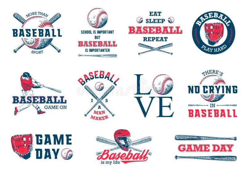 Ställ in av 11 inristade stilillustrationer för affischer, garnering, t-skjorta design Skissar utdragen baseball för handen med m stock illustrationer