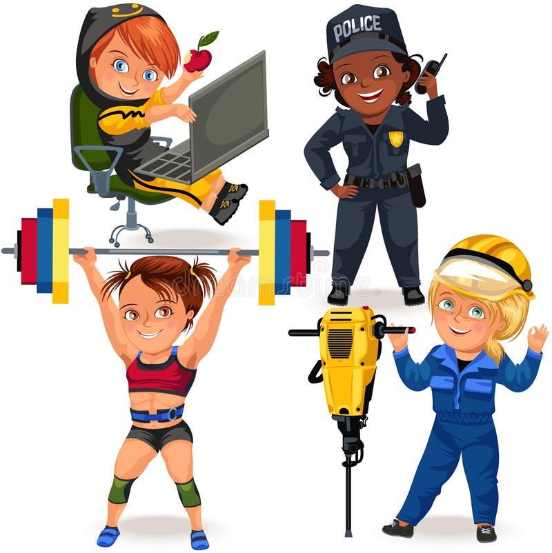 Ställ in av inte kvinnliga yrken, den starka kvinnapolisen och byggmästaren i likformig, secutiry flickapolis för säkerhet stock illustrationer