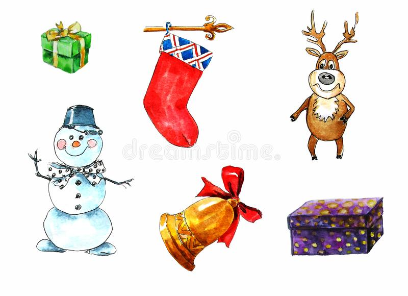 Ställ in av isolerade beståndsdelar på jultemat Gåvaask, snögubbe, hjort, julsocka, klocka vattenf?rg p? vit bakgrund vektor illustrationer
