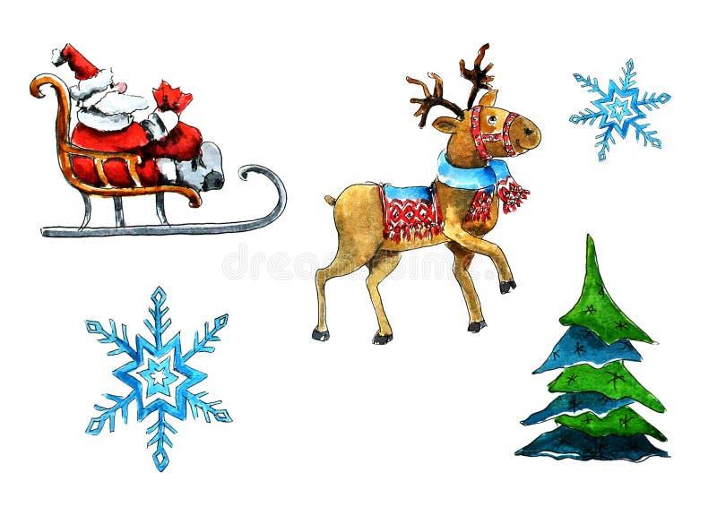 Ställ in av isolerade beståndsdelar på jultemat Julgran Santa Claus, hjort, släde, snöflingor Vattenf?rg p? vit vektor illustrationer
