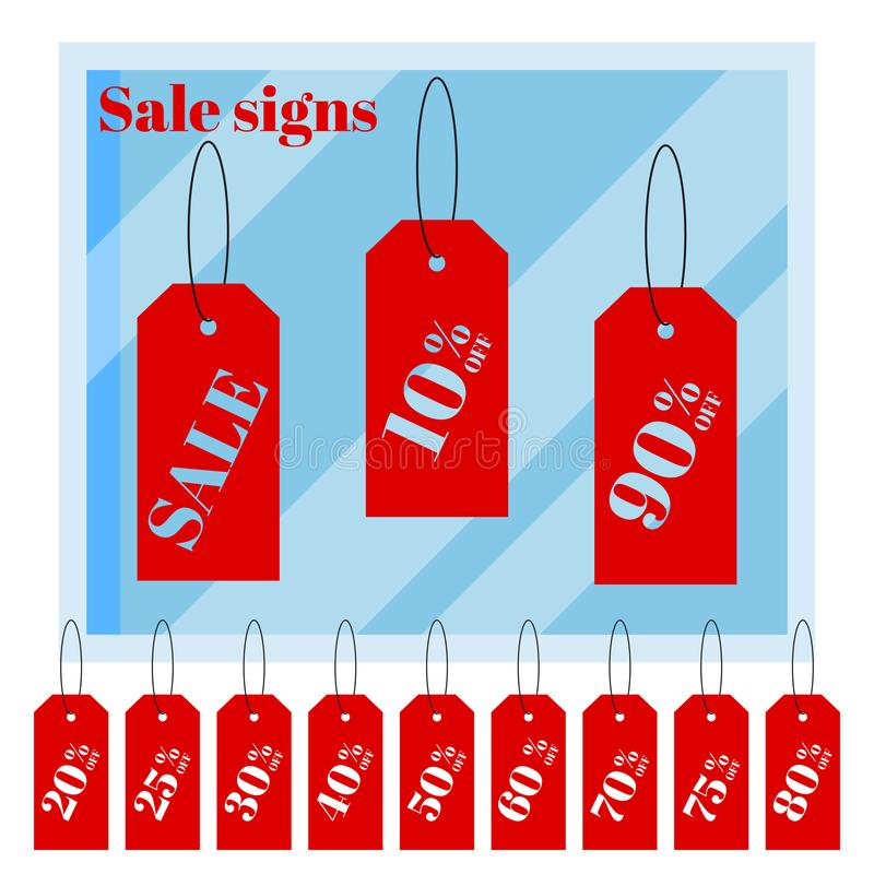 Ställ in av isolerade röda iscountprisetiketter som etiketter på vit bakgrund med tecknad filmlägenheten shoppar fönstret vektor illustrationer
