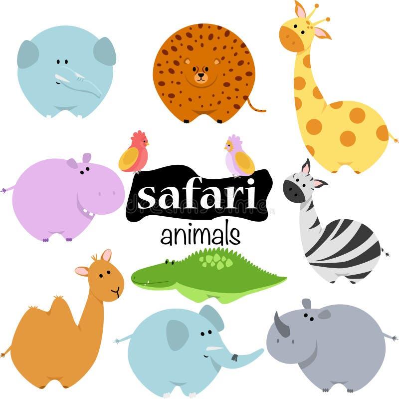 Ställ in av isolerade safaridjur - vektorillustrationen, eps royaltyfri illustrationer