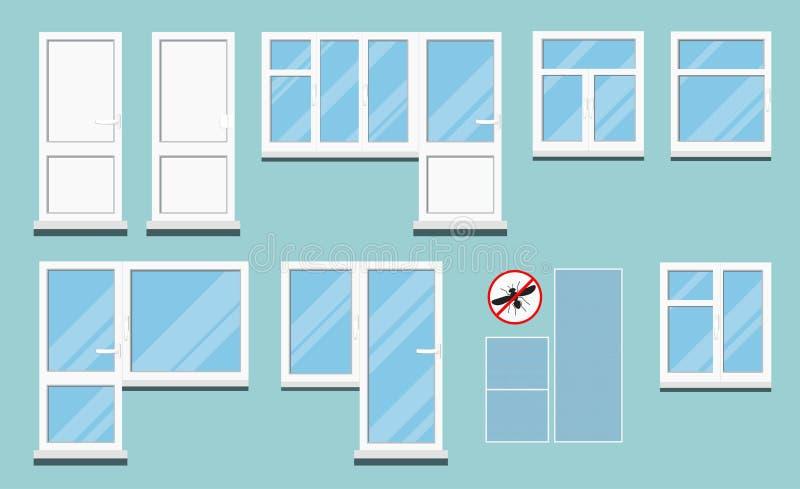 Ställ in av isolerade vita plast- pvc-rumfönster med handtaget royaltyfri illustrationer