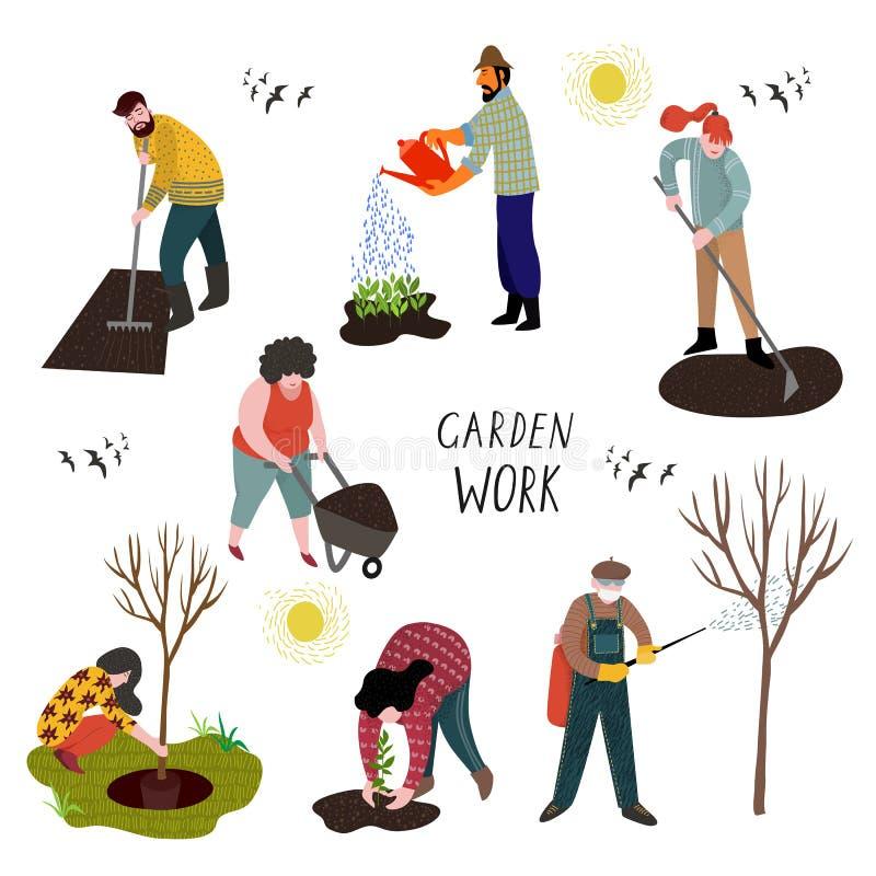 Ställ in av isolerat folk som arbetar i trädgården över att plantera, att bevattna, framkallning av landet och behandling av träd royaltyfri illustrationer