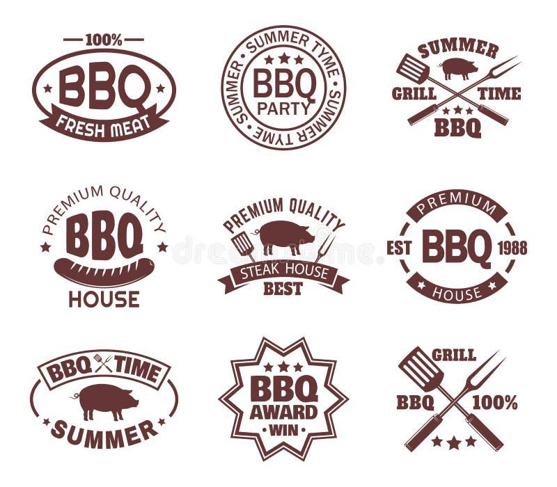 Ställ in av isolerat stekhustecken, eller kött shoppar logo stock illustrationer