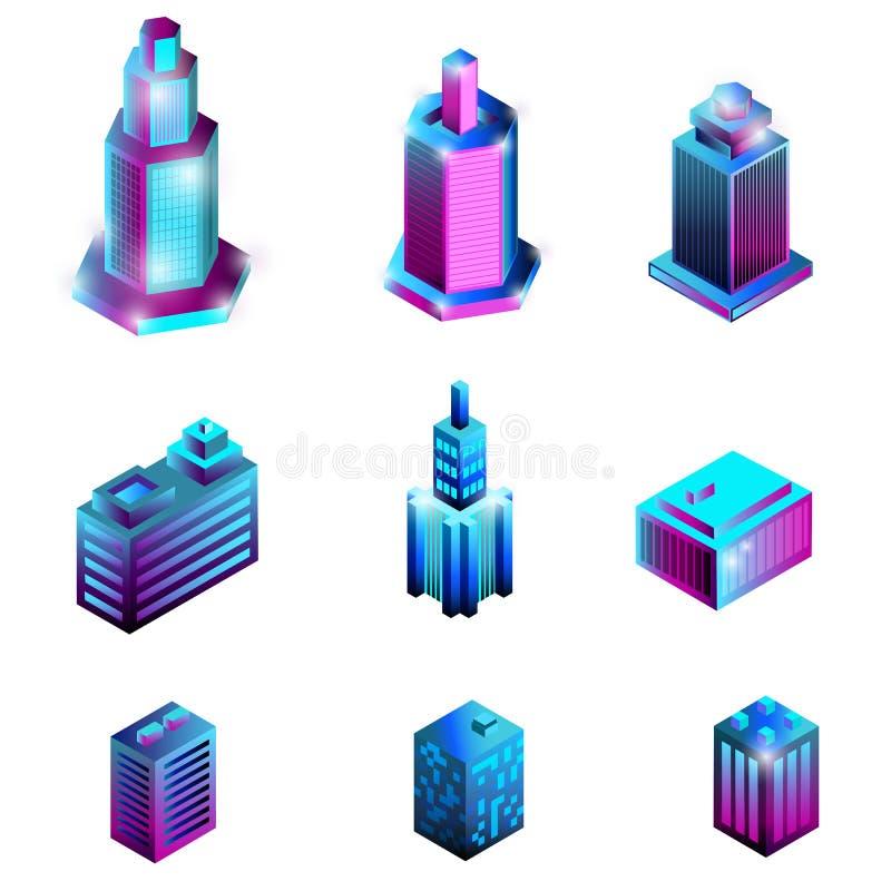 Ställ in av isometriska byggnader som isoleras på en vit bakgrund stock illustrationer