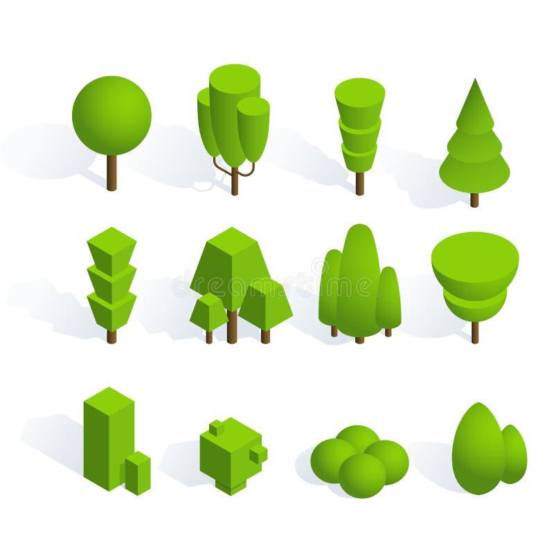 Ställ in av isometriska träd och buskar med skugga på vit bakgrund Volymetriska objekt för designen av illustrationer av stock illustrationer
