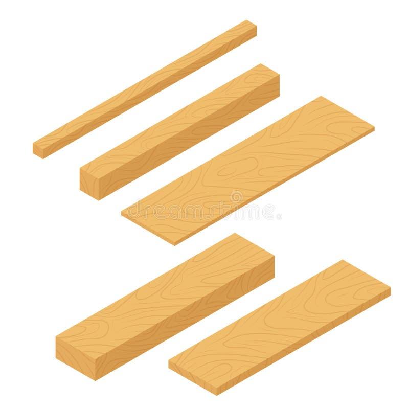 Ställ in av isometriska träplankor, bunt av stänger och bråtestrålen, hög av träjournaltimmer Plankor för konstruktion royaltyfri illustrationer