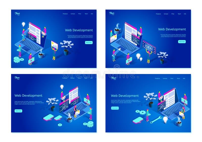 Ställ in av isometriska vektorillustrationer som visar rengöringsdukutvecklingsprocessen Webbsidamallar för grafisk design royaltyfri illustrationer