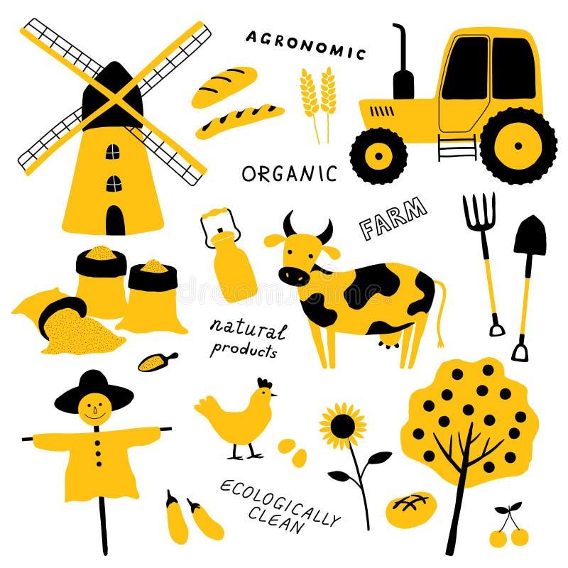 Ställ in av jordbruks- och lantgårdhjälpmedel, djur, växter och maskineri Tecknad filmkon, höna, traktoren, fågelskrämma, maler,  royaltyfri illustrationer