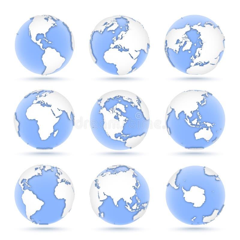Ställ in av jordklot, nio symboler av blåa jordklot som visar jord från alla kontinenter royaltyfri illustrationer