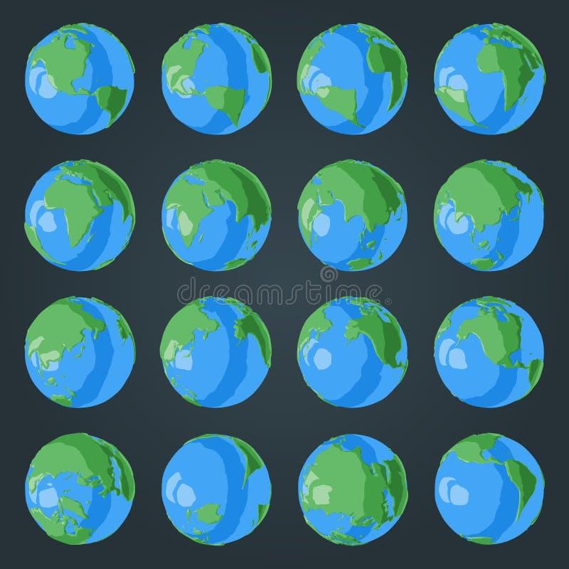 Ställ in av jordklotet för tecknade filmen 3D med gröna kontinenter och blåa hav med glansig effekt stock illustrationer