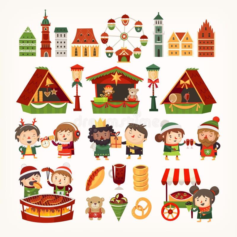Ställ in av julmarknadsbeståndsdelar Klassiska europeiska byggnader, tält som säljer gods, folk som lagar mat vinterfester royaltyfri illustrationer