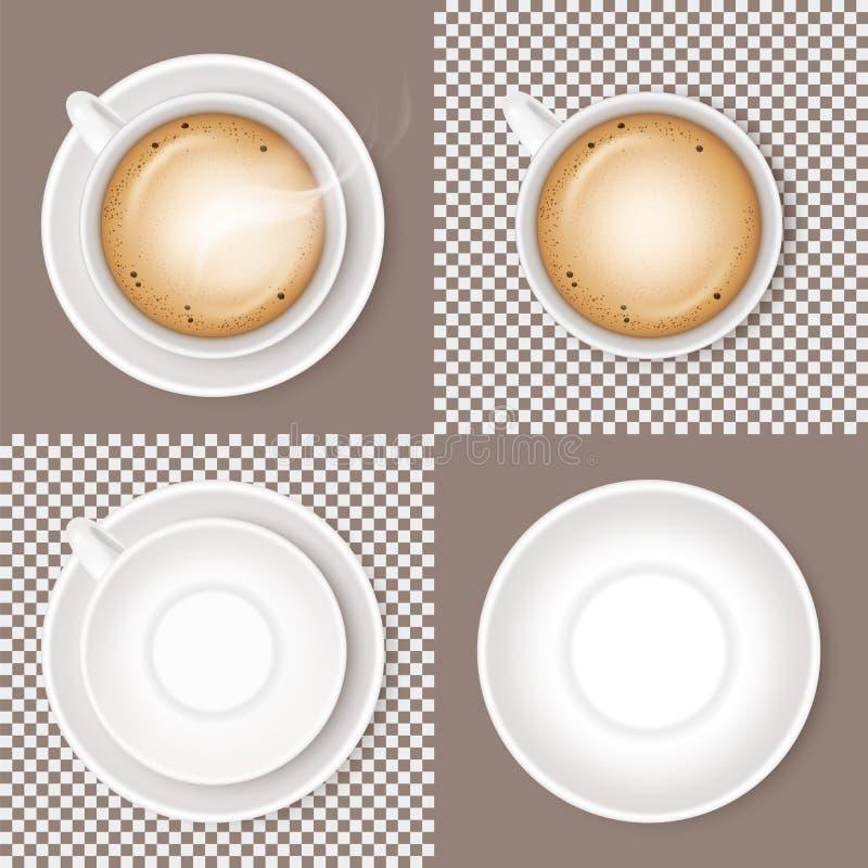 Ställ in av kaffedryckcappuccino, den vita keramiska koppen eller råna och det tomma runda tefatet som tillbaka isoleras på genom royaltyfri illustrationer