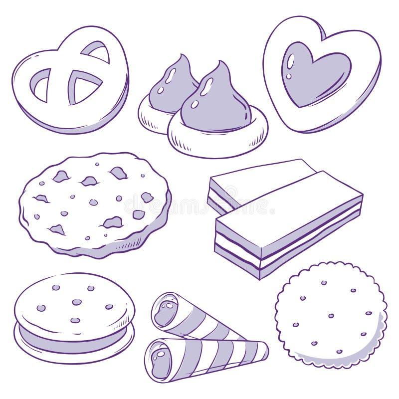 Ställ in av kakor, och kex klottrar royaltyfri illustrationer